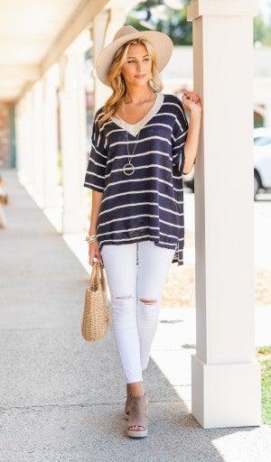 Timelessly Fee Sweater, Navy/Oatmeal Stripe