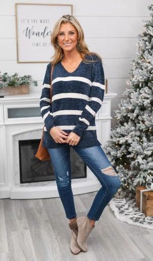Caroline Chenille Stripe knit Sweater, Navy