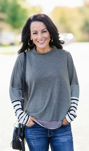 Casually Chic Stripe Top,  Dull Olive