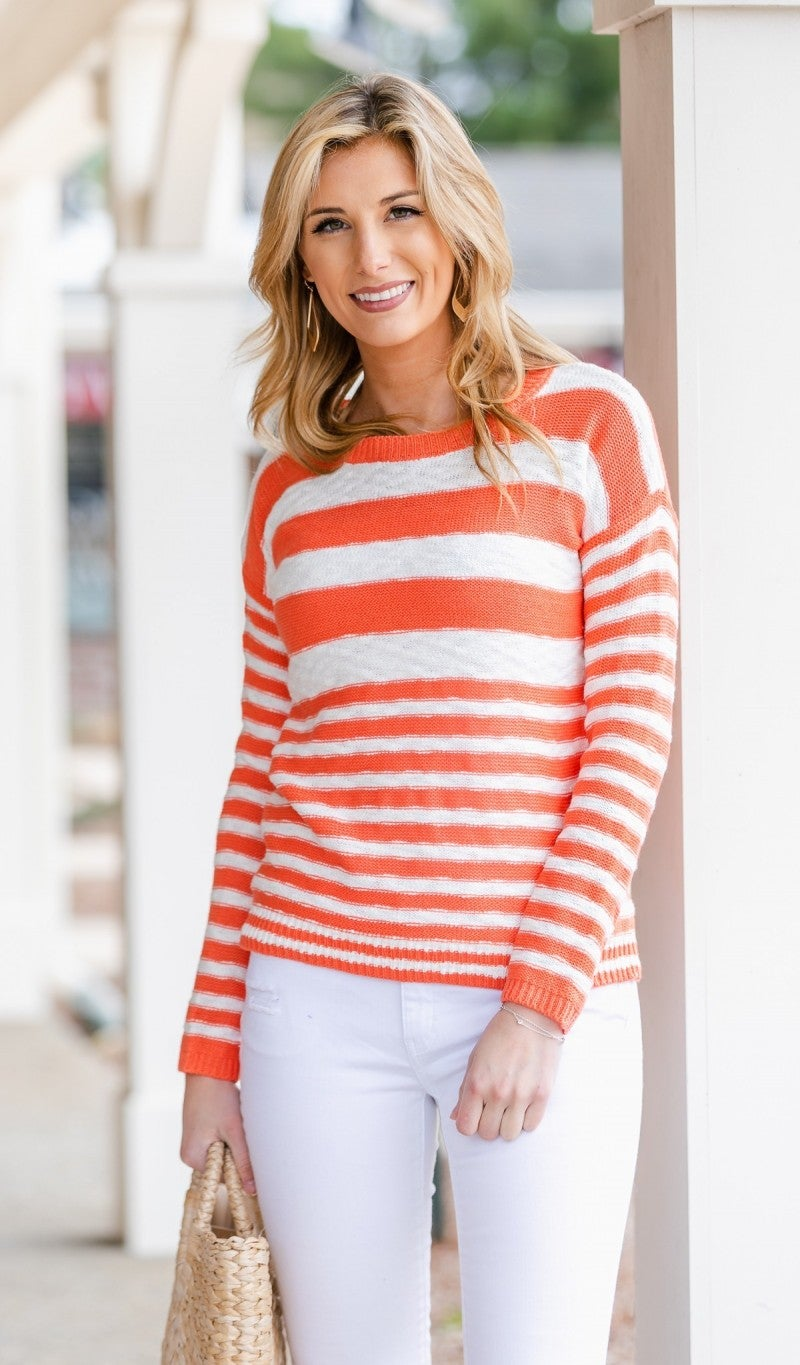 Here To Stay Striped Knit Sweater, Coral/Ivory