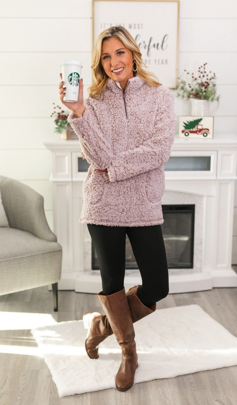 Dream Come True Sherpa Pullover, Wine *Final Sale*