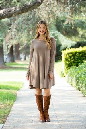 The Morgan Long Sleeve Dress, Mocha
