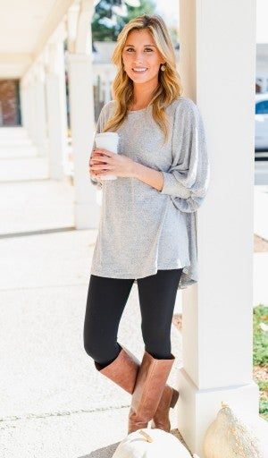 Cabin Fever Tunic, Heather Grey