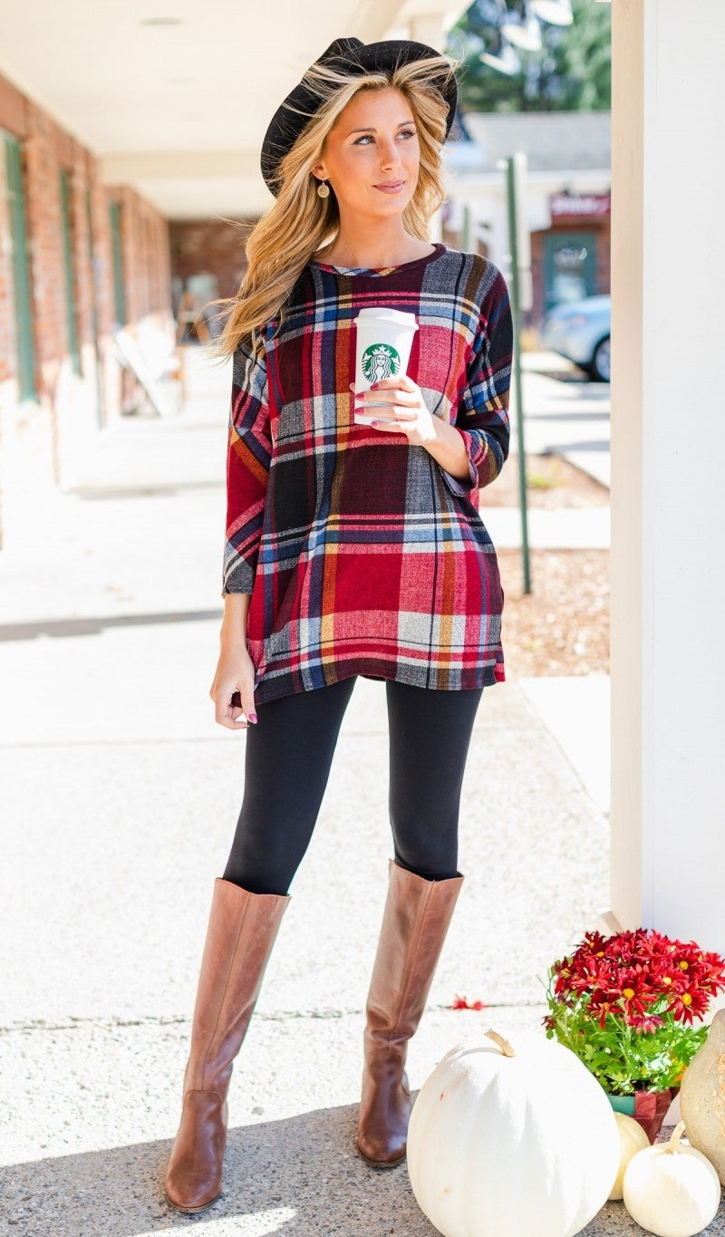Calling On You Plaid Sweater Tunic
