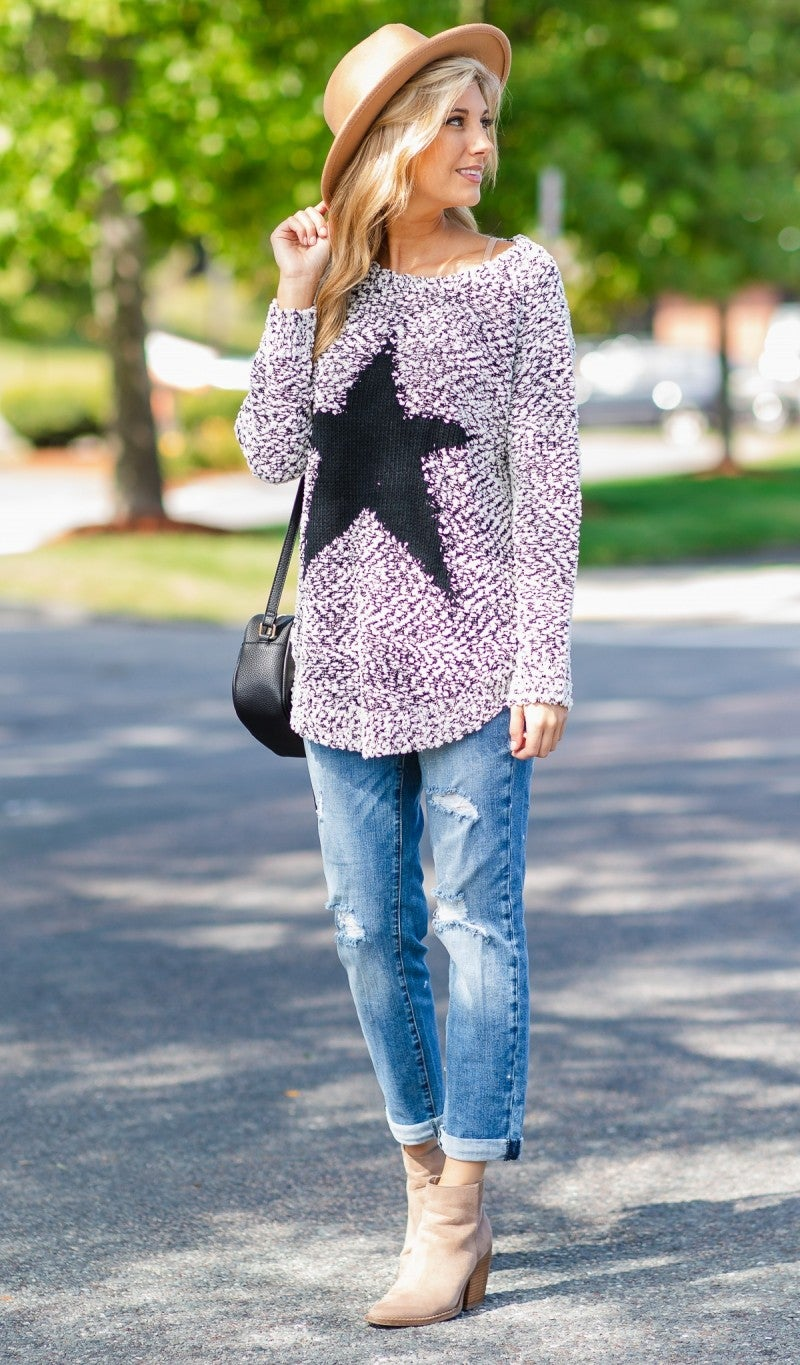 Catch A Falling Star Sweater, Black