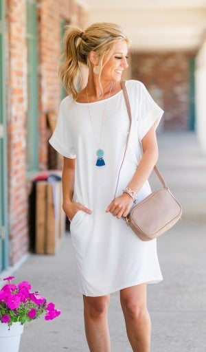 Essential T Shirt Dress, Ivory
