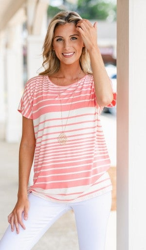 All Time Twist Striped Tee,  Mint or Coral