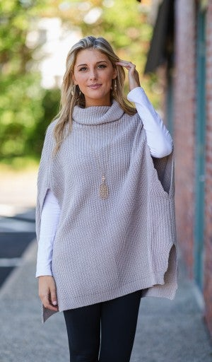 Friday Mood Sweater/Poncho, Light Grey