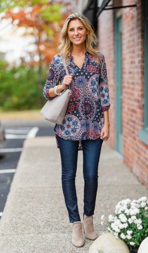 Never Too Busy Tunic, Navy