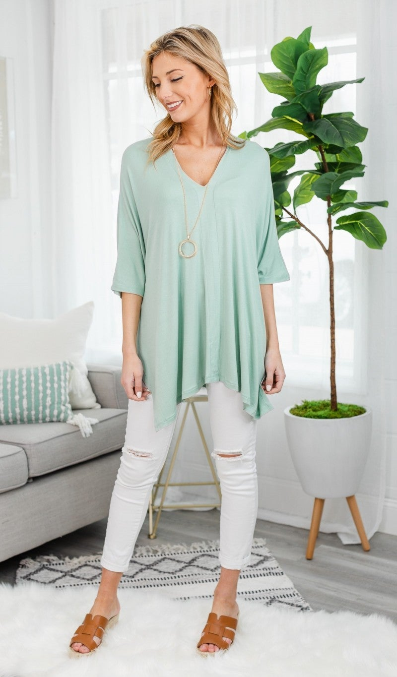 Call On It Oversized Tunic, Sage