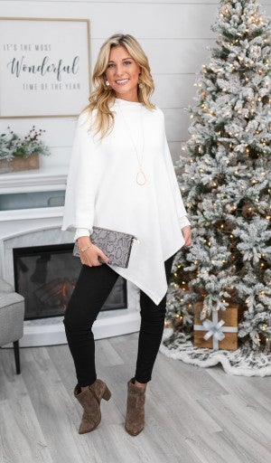 Change of Seasons Sweater/Poncho, Ivory