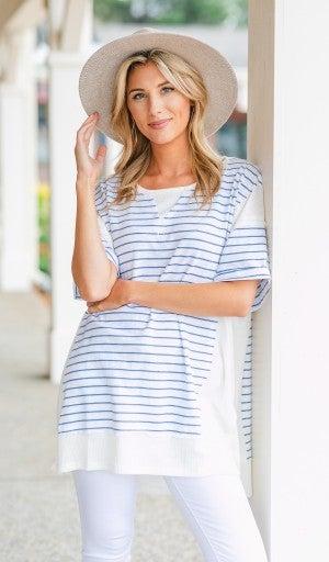 Summer Breeze Tunic, Blue Stripe