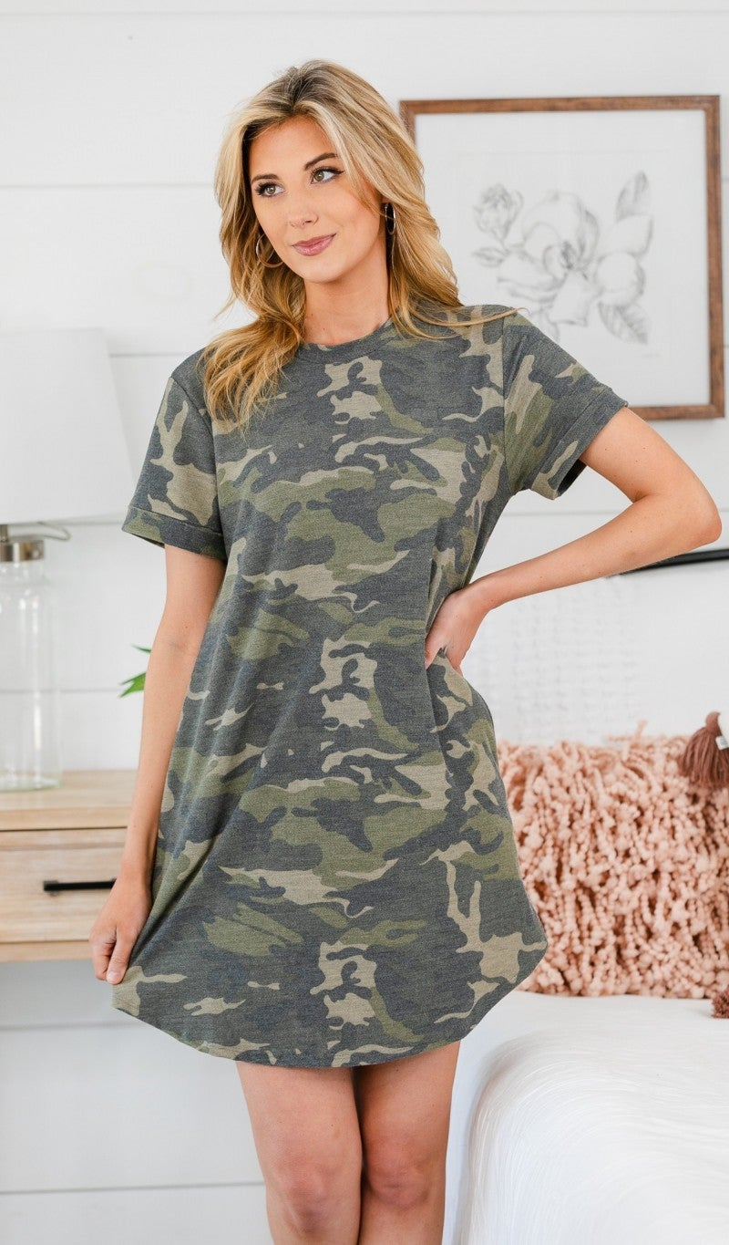 Camo Casual Dress, Green