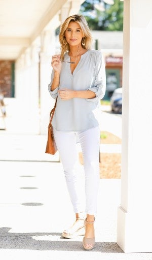 Best Impressions Blouse, Light Grey