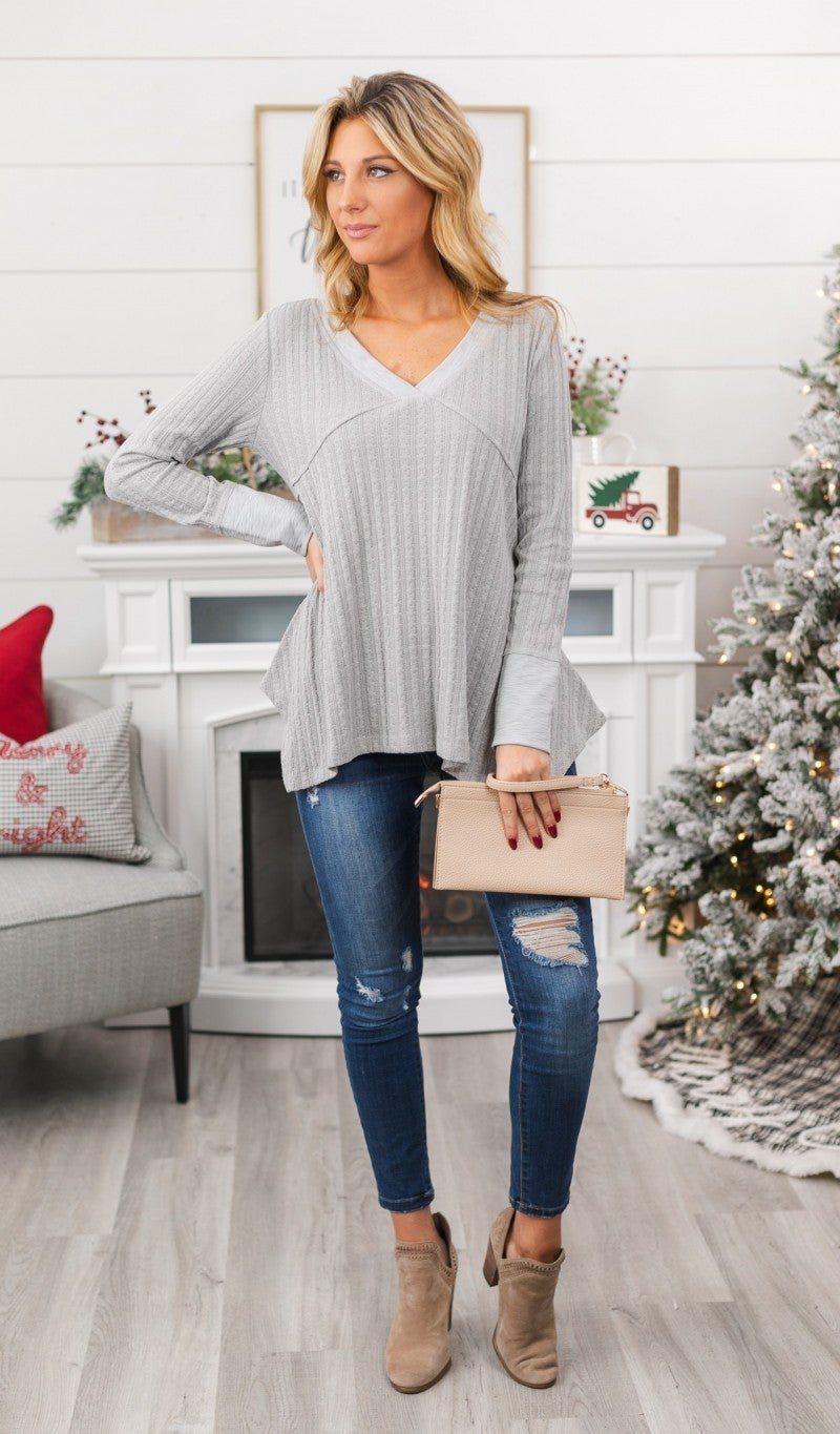 Misted Knit Top, Grey