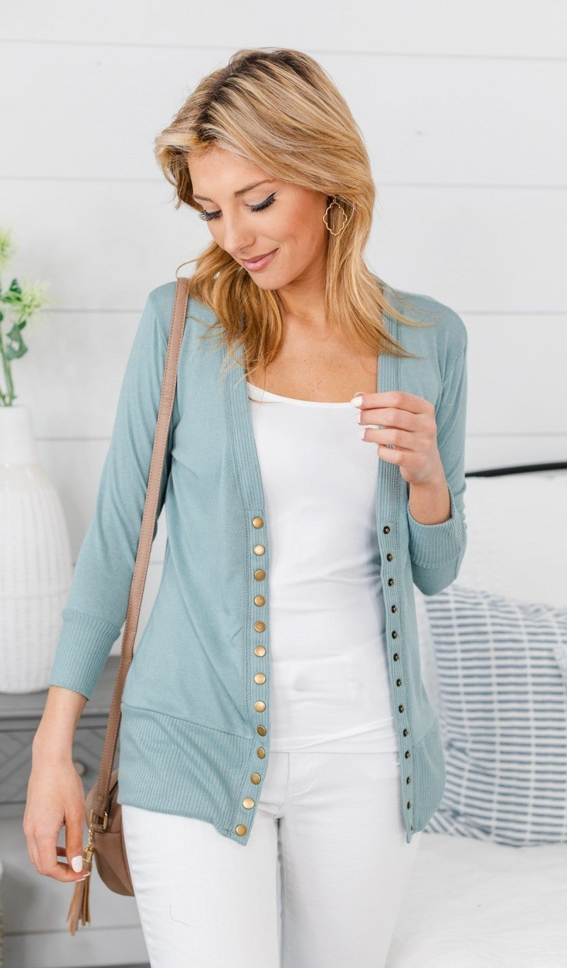 Here To Stay Cardigan, Light Green