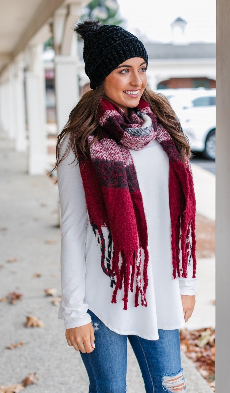 Sweet Escape Bundle- Burgundy Plaid Scarf and Black Pom Pom Chenille Hat