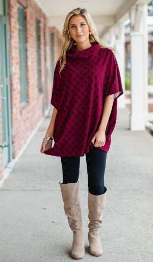 Feels Like Fall Polka Dot Top/Tunic, Burgundy *Final Sale*