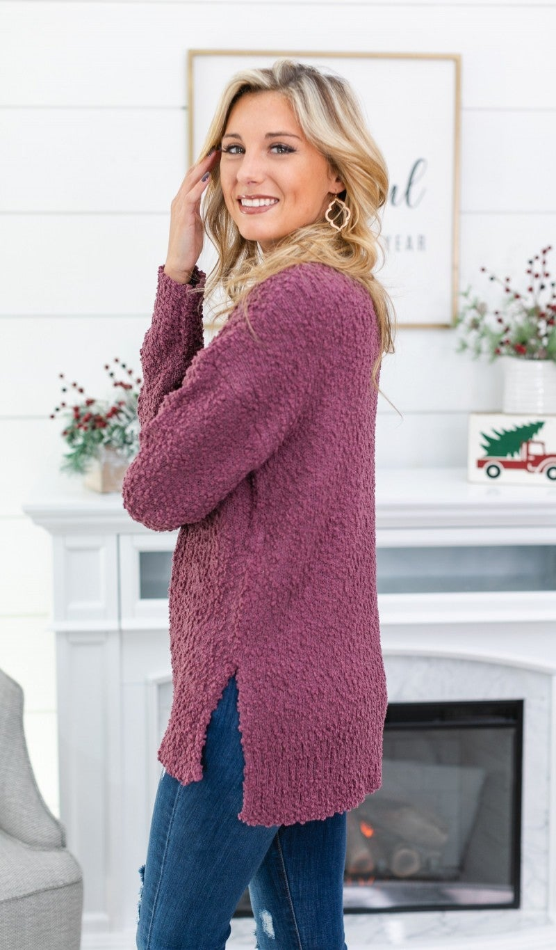 Just Another Day Sweater, Eggplant *Final Sale*
