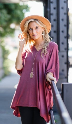 Call On It Oversized Tunic, Marsala