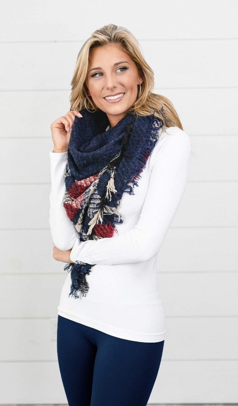 BUNDLE! Frosted Nights- Navy Fleece Lined Leggings & Navy Plaid Print Blanket Scarf