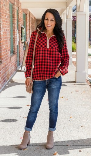 Perfectly Plaid Pullover, Red