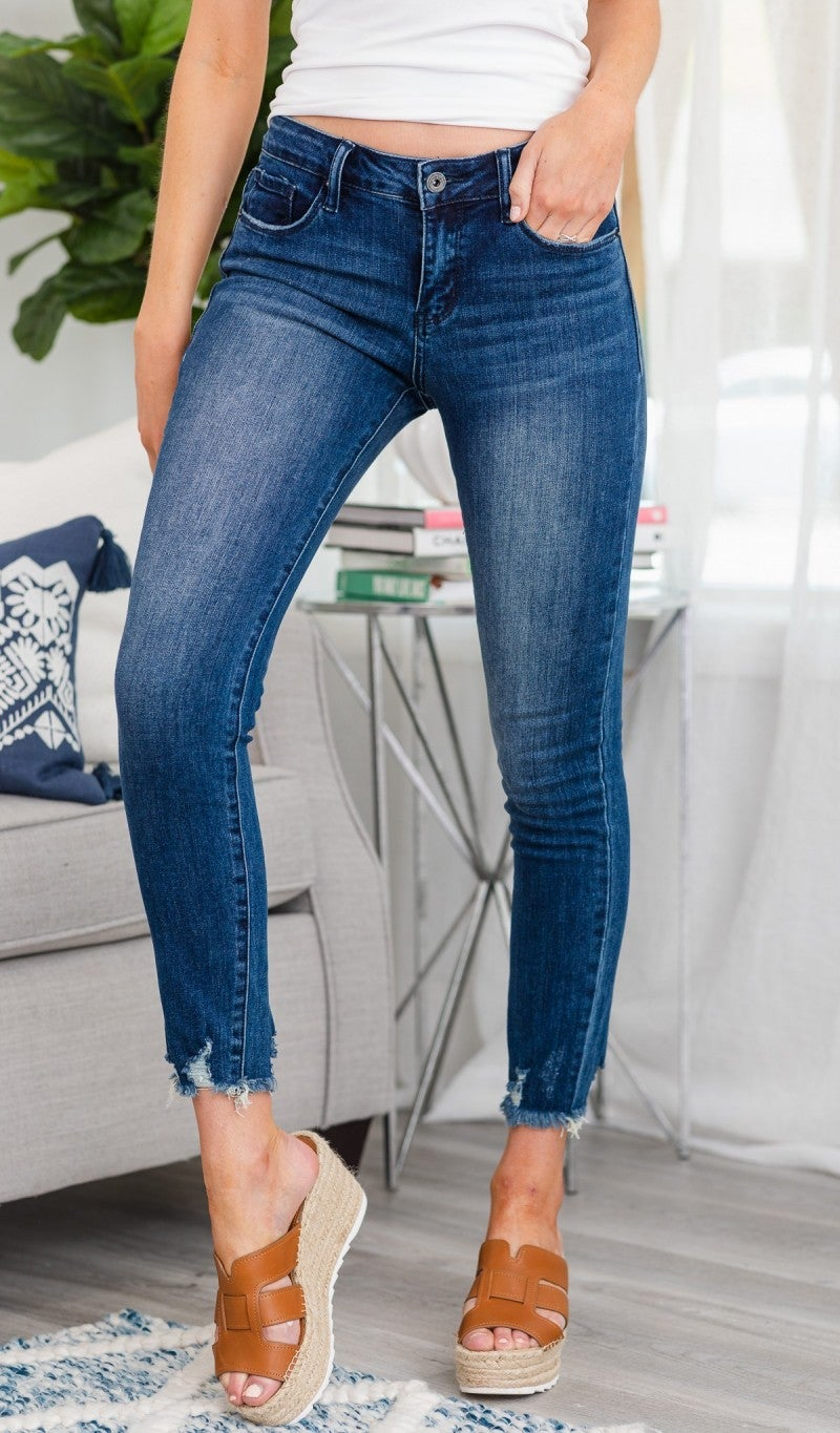 P014 Mid Rise Jean With Distressed Ankle Hem, Medium Wash