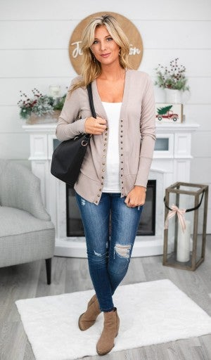 Studio Snap Cardigan, Mocha - BUNDLE!