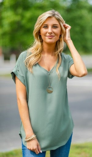 The Lexi Short Sleeve Top, Olive