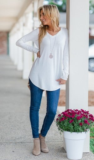 The Chandler Long Sleeve, Ivory