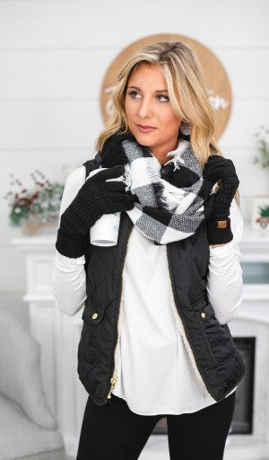 BUNDLE! Weekend Outing- Buffalo Check Infinity Scarf & Black Gloves
