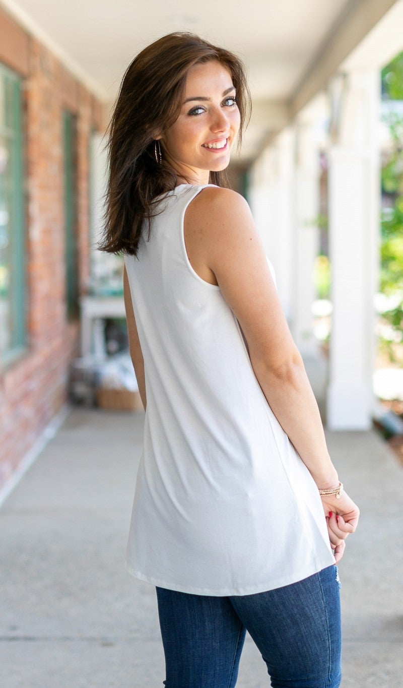 Cute As A Button Tank, Ivory
