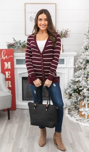 Striped Studio Snap Cardigan & Cami Bundle!!-Burgundy