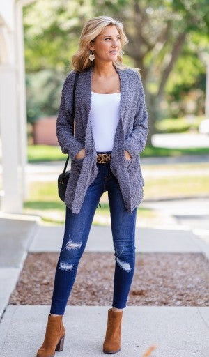 Cold Snap Cardigan, Charcoal