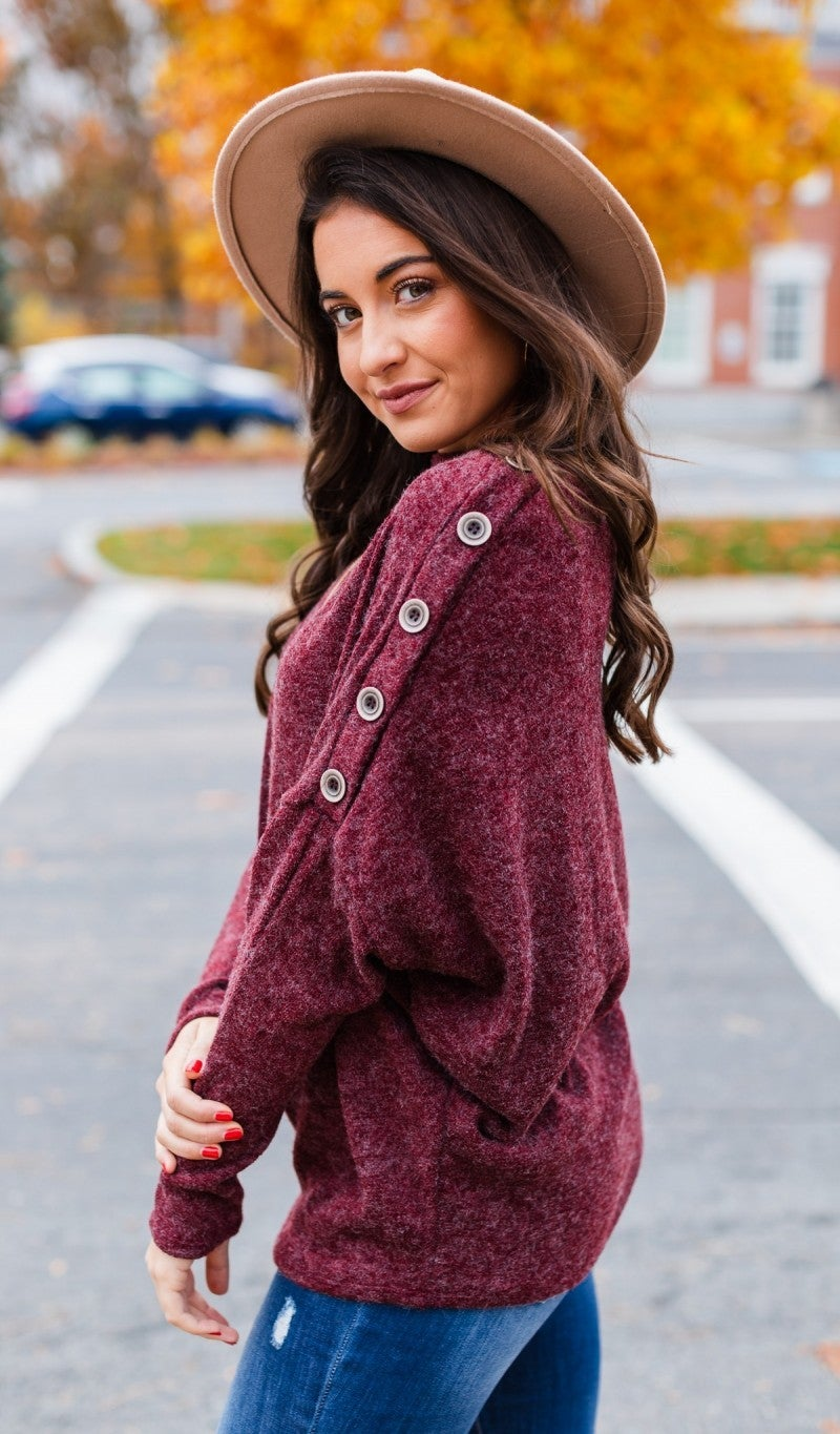 Just Embrace It Sweater, Burgundy