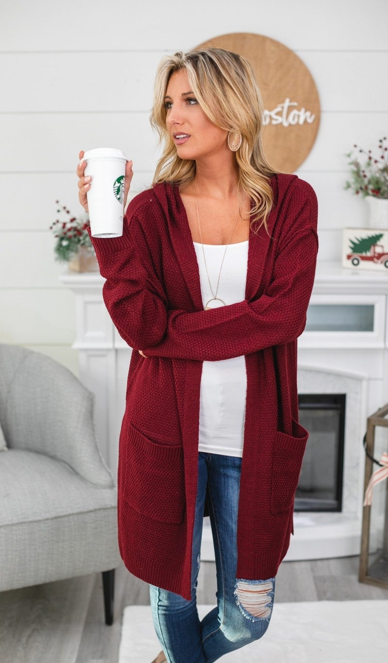 Easily Adored Cardigan, Burgundy