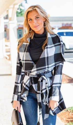 Chic Intuitions Plaid Coat