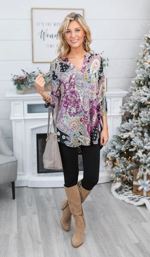 Loud And Clear Paisley Tunic, Black
