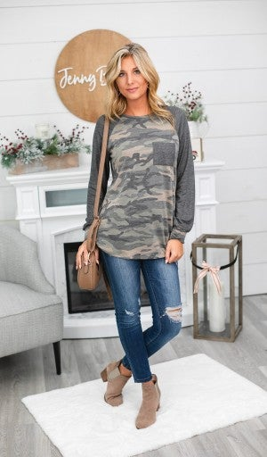 Every Day Easy Top, Olive/Charcoal