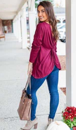 Back in Action Top in Burgundy