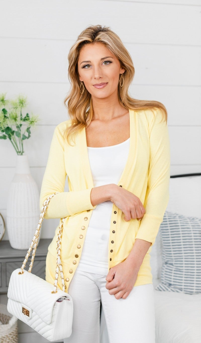 Here To Stay Cardigan, Light Yellow