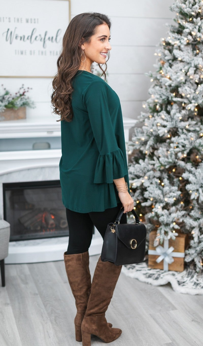 Black Friday DOORBUSTER!!!! Bella Bell Sleeve Top, Black, Hunter Green or Burgundy
