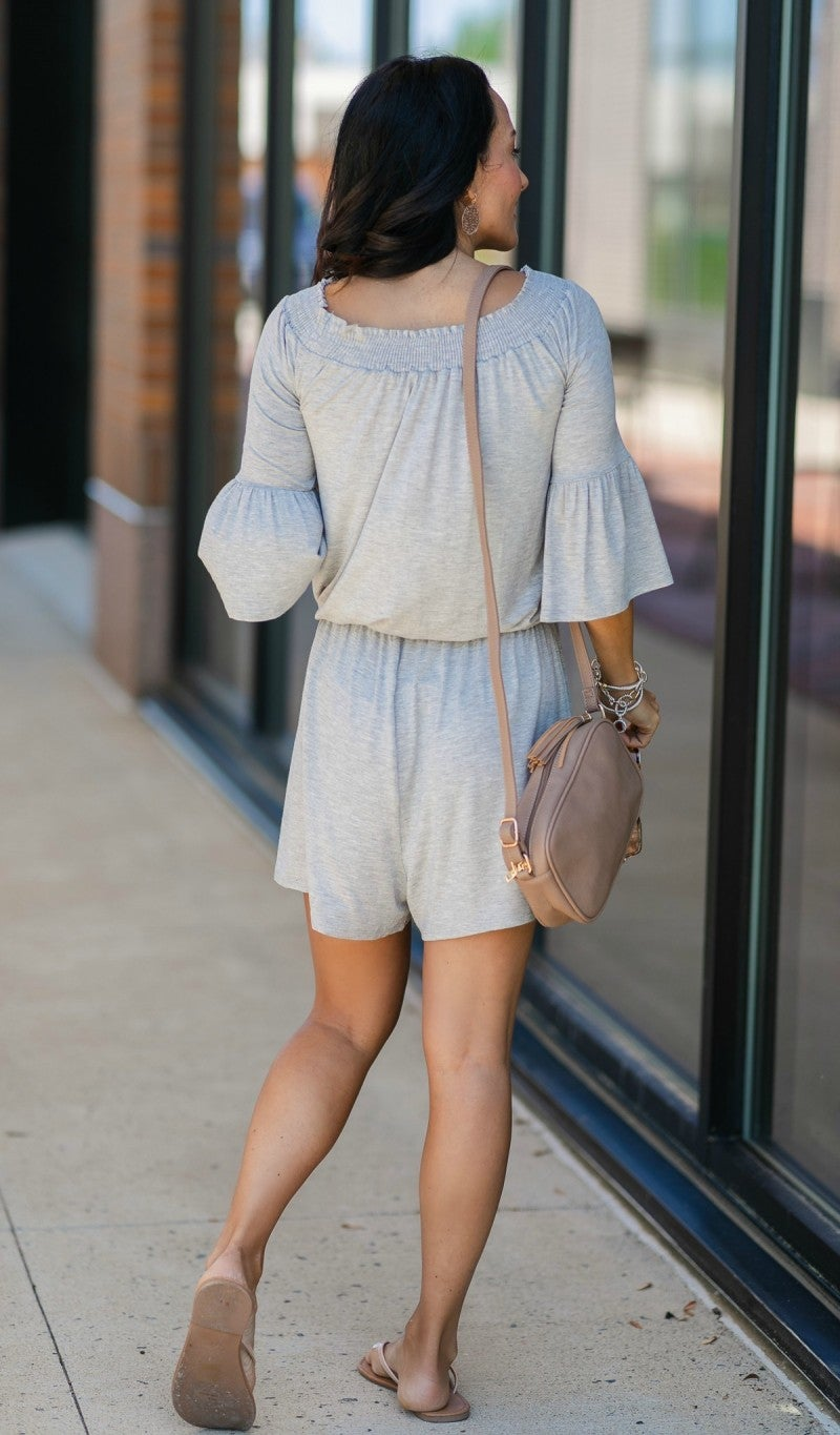 Just So Perfect Romper, Grey