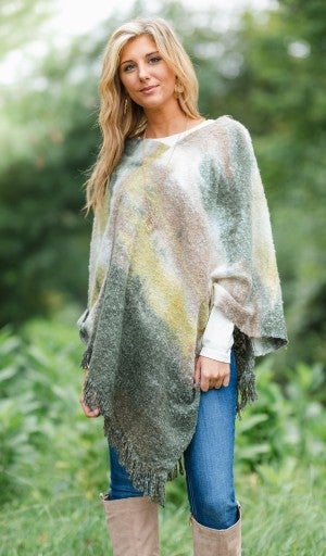 The Watercolor Poncho, Olive