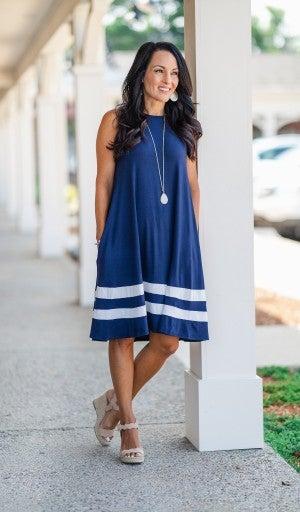 The Brenna Dress, Navy/White