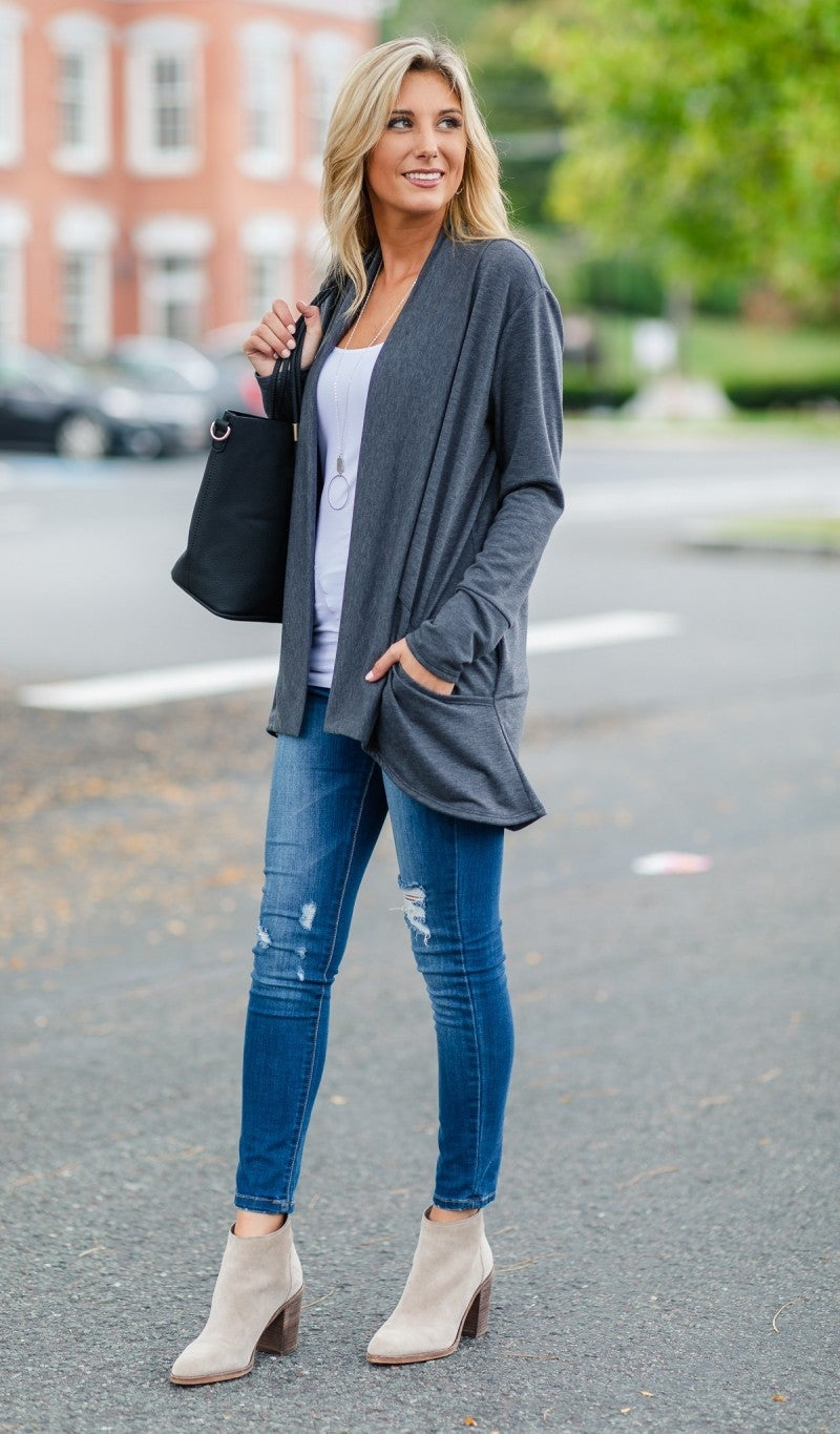 Forget Me Not Cardigan, Charcoal *Final Sale*