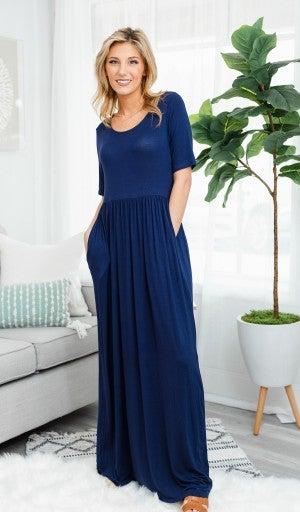 Everyday Comfort Maxi Dress, Navy