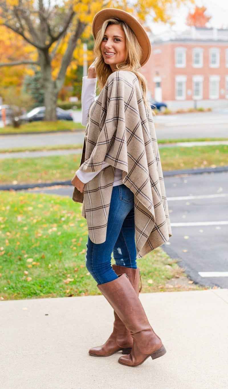 October Skies Cape, Taupe Plaid