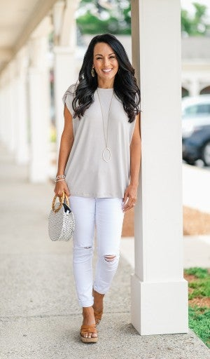 Just That Easy Top, Misty Grey