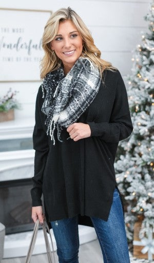 BUNDLE!! Perfect Touch Sweater, Black & Black Fringe infinity Scarf